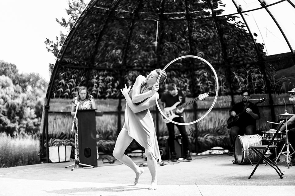 black and white dancing with hoop
