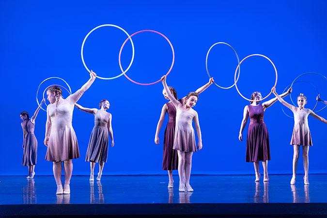Kids dancing with hoops