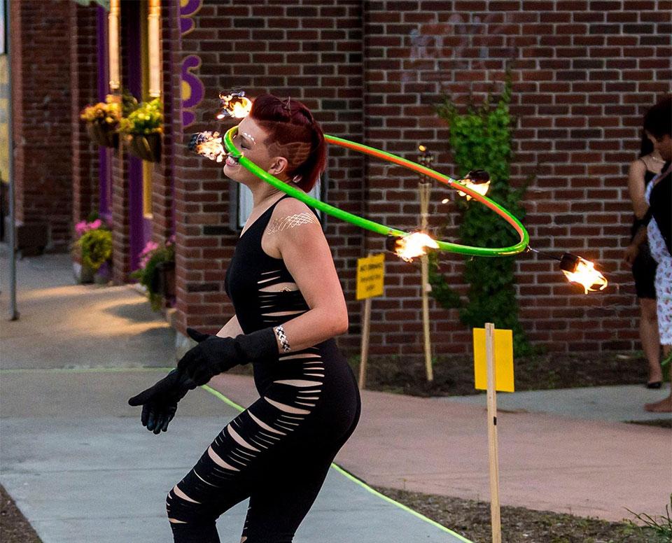 Jennifer hooping at an event